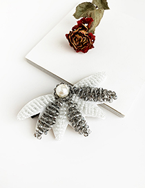 Fashion White + Gray Alloy Rice Beads Non-woven Rice Beads Fan-shaped Duckbill Hairpin