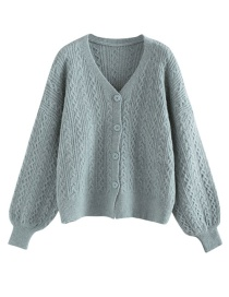 Fashion Blue Twist Knit Cardigan