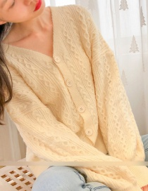 Fashion Cream Color Twist Knit Cardigan