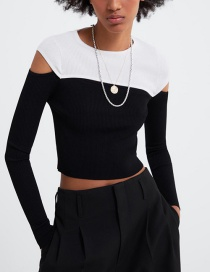 Fashion Black Contrast Stitching Openwork Sweater
