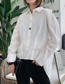 Fashion White Cloth Cabinet Hem Split Shirt