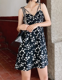 Fashion Black Daisy Floral Sling Dress