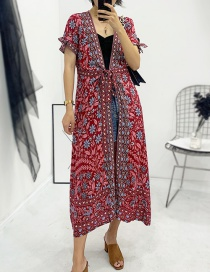 Fashion Jujube Red White Orchid Dress