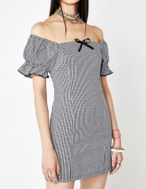 Fashion Black Plaid Puff Sleeve Dress