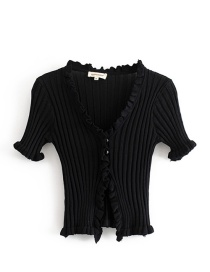 Fashion Black Auricular Crater Knit Cardigan
