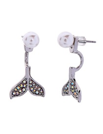 Fashion Diamond-tailed Fishtail White Gold Crystal Diamond Drop Pearl Earrings