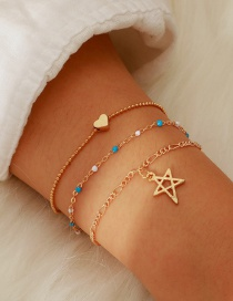 Fashion Gold Alloy Hollow Star Rice Beads Chain Bracelet 3 Layers