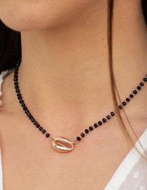 Fashion Black Rice Pearl Alloy Shell Necklace