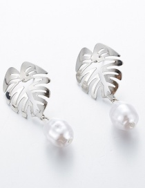 Fashion Silver Alloy Openwork Leaf Pearl Earrings