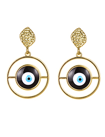 Fashion Black Alloy Round Eye Stud