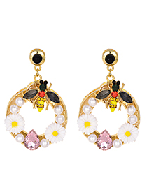 Fashion Gold Alloy Diamond Diamond Insect Flower Earrings