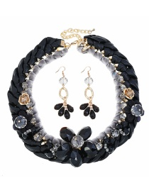 Fashion Black Woven Diamond Necklace Earring Set