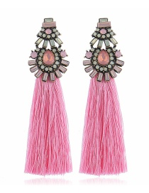 Fashion Pink Diamond-studded Tassel Earrings