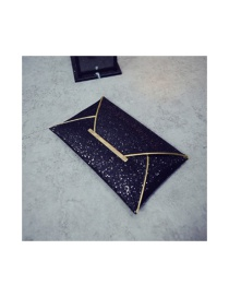 Fashion Black Sequined Hand Holding File Bag