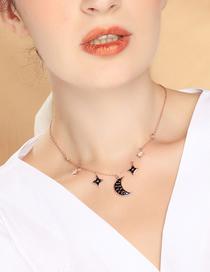 Fashion Star Month Diamond Star Moon Necklace