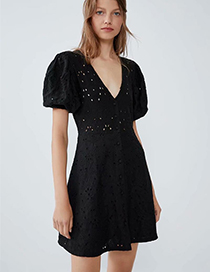 Fashion Black Embroidered Dress