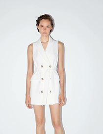 Fashion White Buttoned Vest Dress