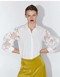Fashion White Transparent Gauze Sleeve Shirt