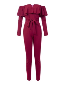 Fashion Wine Red One-shoulder V-neck Ruffled Bandage Jumpsuit