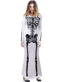 Fashion White Printed Skeleton Skeleton Openwork Dress