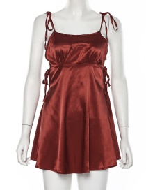 Fashion Red Strap One-neck Dress