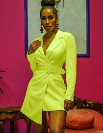 Fashion Fluorescent Yellow Suit Collar Irregular Dress