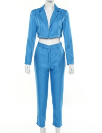 Fashion Blue Short Small Suit Mid-rise Cropped Pants Suit