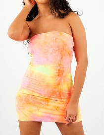 Fashion Yellow One-shoulder Tie-dye Dress