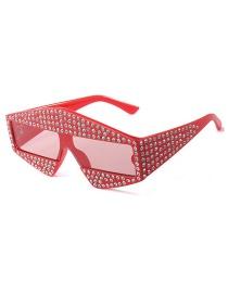 Fashion Red Film C6 Triangle With Diamond Sunglasses