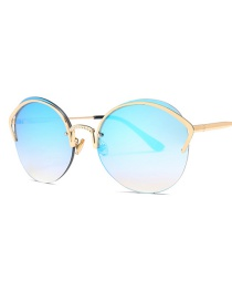 Fashion Ice Blue C2 Cat Eye Diamond Nose Bridge Round Sunglasses