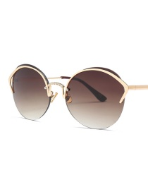Fashion Gradient Tea C6 Cat Eye Diamond Nose Bridge Round Sunglasses