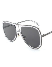 Fashion Silver Frame Full Gray C1 Contrast Stitching Conjoined Frame Sunglasses