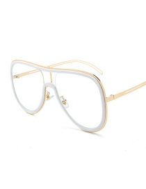 Fashion White Circle White Screen C8 Contrast Stitching Conjoined Frame Sunglasses