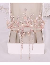 Fashion Rose Gold Crystal Alloy Leaf Crown