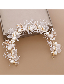 Fashion White Pearl Flower Braided Leaf Hair Band