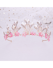 Fashion Pink Flower Crystal Crown