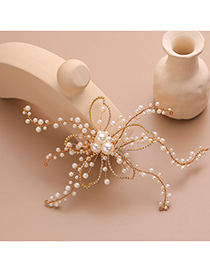 Fashion Gold Crystal Woven Pearl Hair Clip