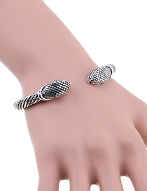 Fashion Ancient Silver Snake Head Alloy Open Bracelet