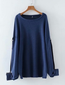 Fashion Navy Large Size Two-color Loose Sweater
