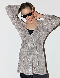 Fashion Silver Beaded Dress Coat