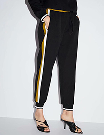Fashion Black Side Strap Stitching Jogging Pants