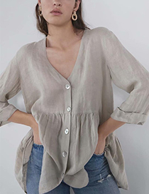 Fashion Beige Button Linen Blouse