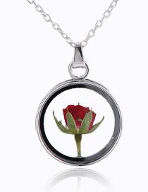 Fashion White K+ Rose Round Glass Rose Flower Necklace