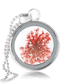 Fashion White K+ Red Lace Flower Dried Flower Round Crystal Glass Necklace