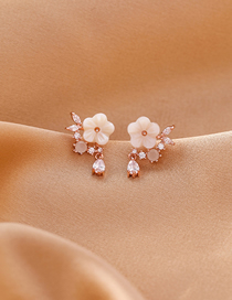 Fashion Water Drop Flower (gold) 925 Silver Needle Micro Inlay Shell Flower Drop Zircon Earrings