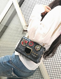 Fashion Gray Embroidered Rhinestone Shoulder Crossbody Bag