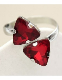 Fashion Red Triangle Double-headed Crystal Open Ring