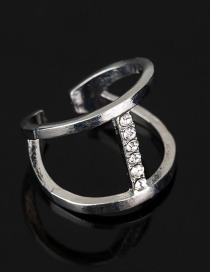 Fashion Gold Diamond Pierced Ring