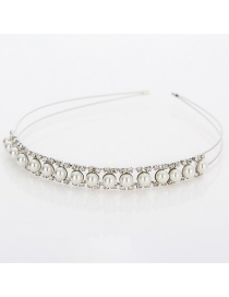 Fashion Silver Pearl-studded Headband