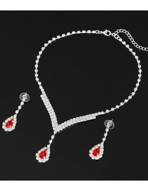 Fashion Red Diamond Crystal Necklace Earring Set
